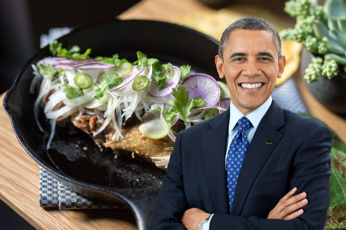 President Obama with duck carnitas