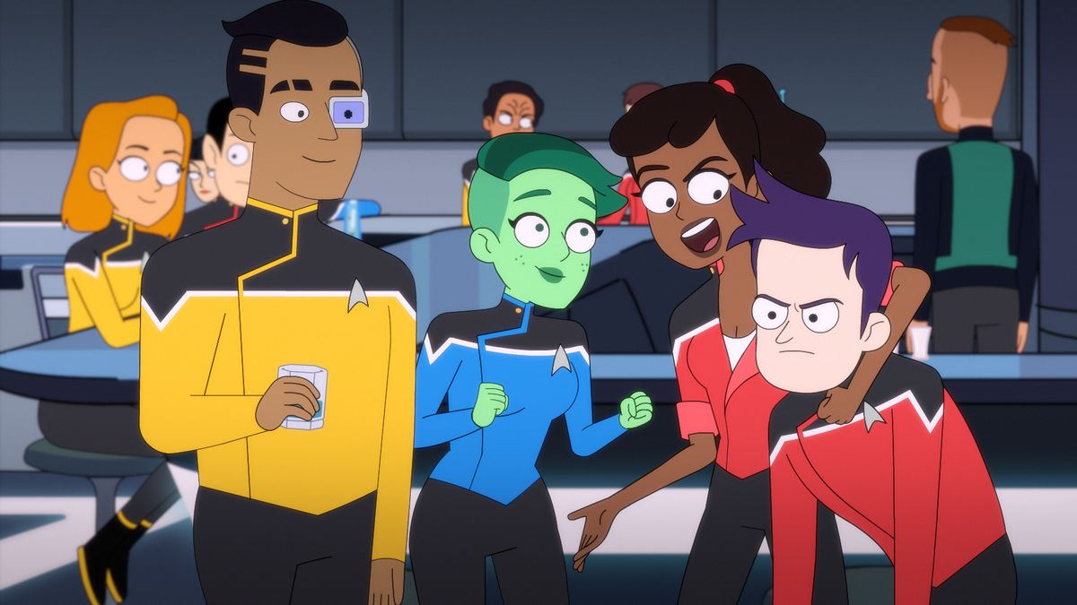 the cast of lower decks roughhouses on the starship