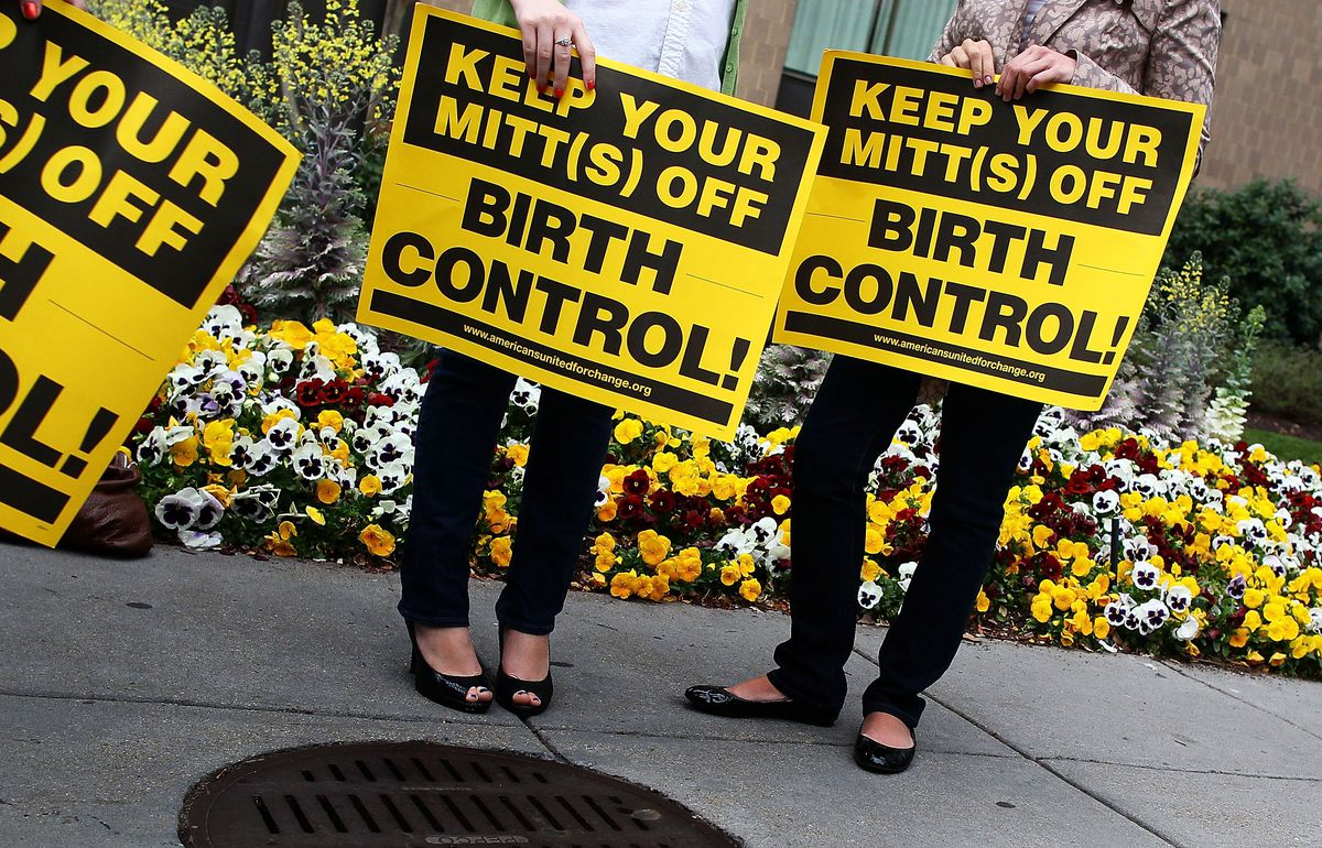 Reproductive Rights Activists Protest Outside Romney DC Fundraiser