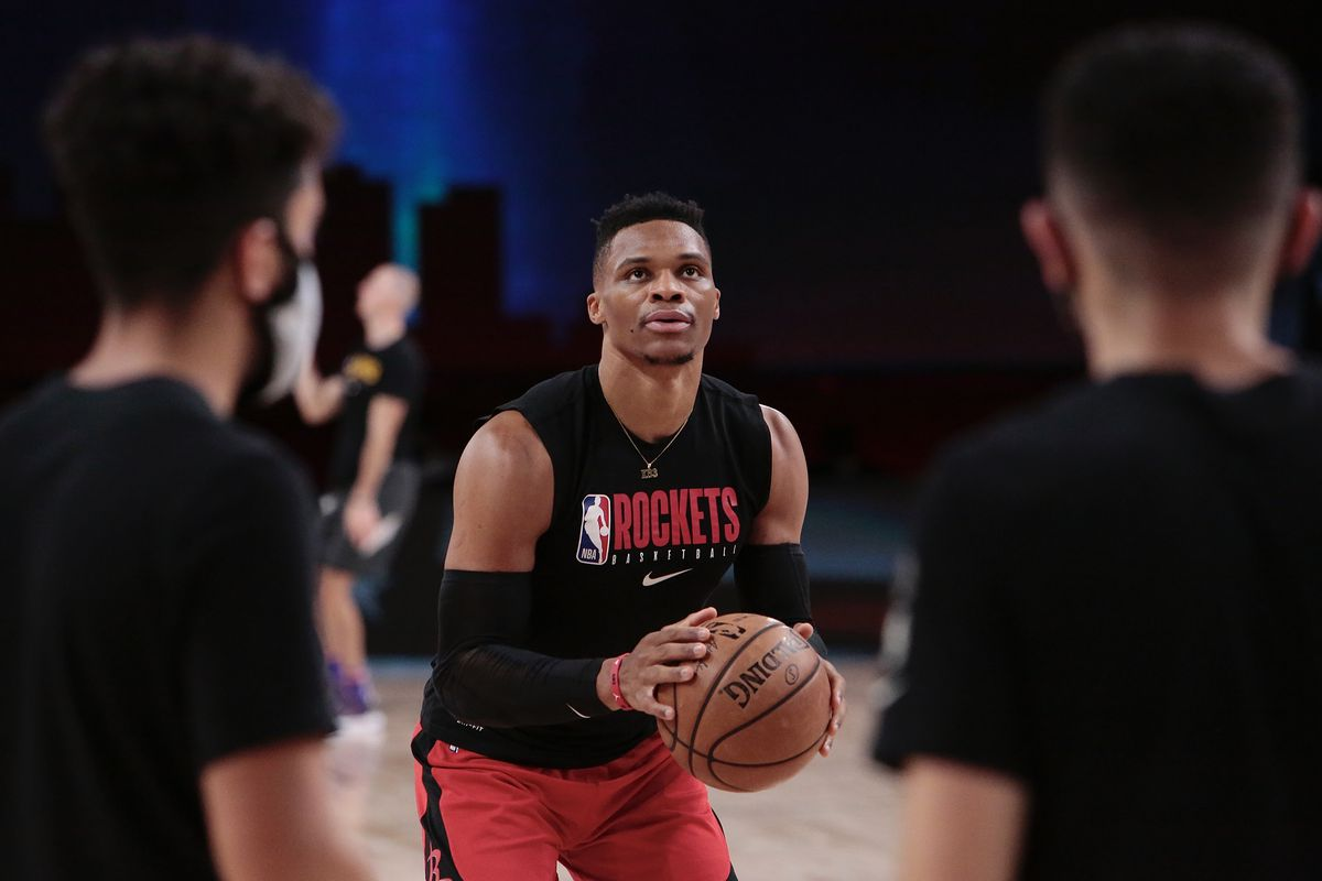 Russell Westbrook of the Houston Rockets for the game against the Los Angeles Lakers in Game four of the second round of the 2020 Playoffs as part of the NBA Restart 2020 on September 10, 2020 at AdventHealth Arena at ESPN Wide World of Sports Complex in Orlando, Florida.