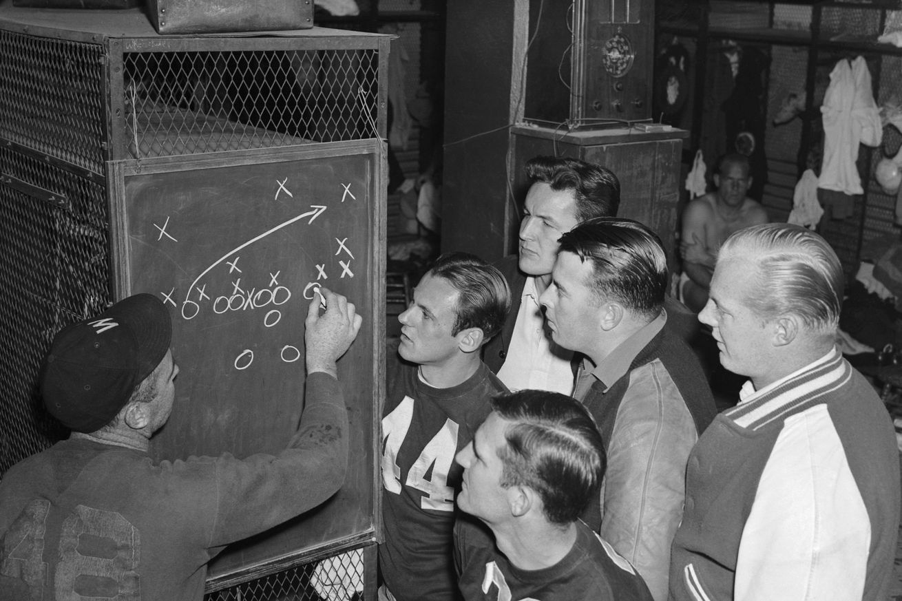 Players Watching Coach Diagram Play