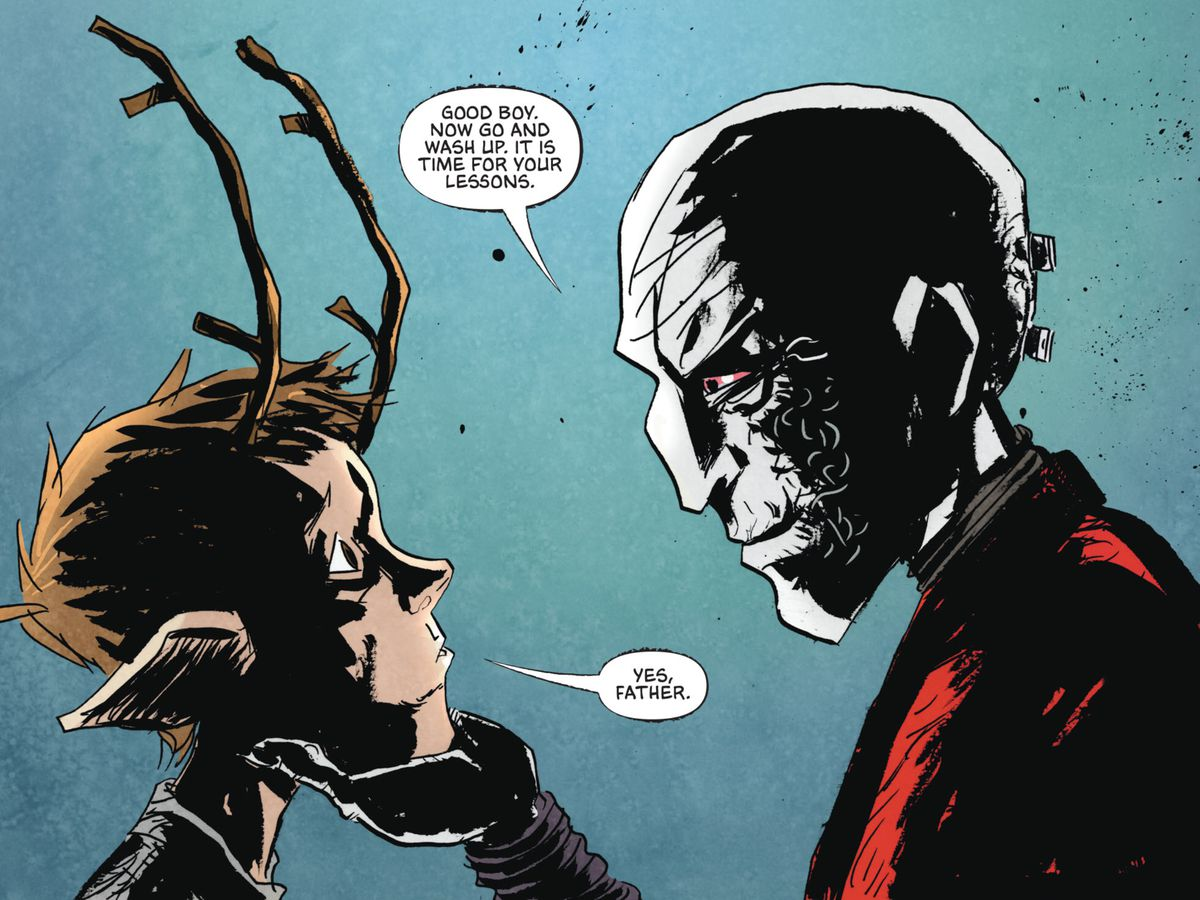 """""""Good boy. Now go and wash up. It is time for your lessons,"""" says a pale, red-eyed man in a red robe, cupping the chin of a boy with deer antlers in Sweet Tooth: The Return, DC Comics (2020)."""