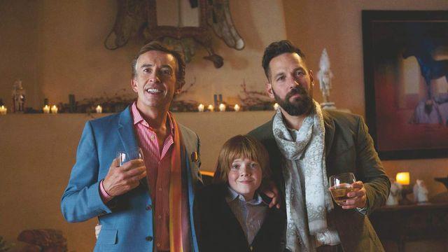 Steve Coogan, Jack Gore, and Paul Rudd in <em>Ideal Home</em>.