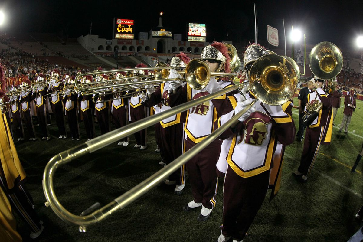 LOS ANGELES, CA - NOVEMBER 26:  The USC Trojans band performs after the game with the UCLA Bruins at the Los Angeles Memorial Coliseum on November 26, 2011 in Los Angeles, California.  (Photo by Stephen Dunn/Getty Images)