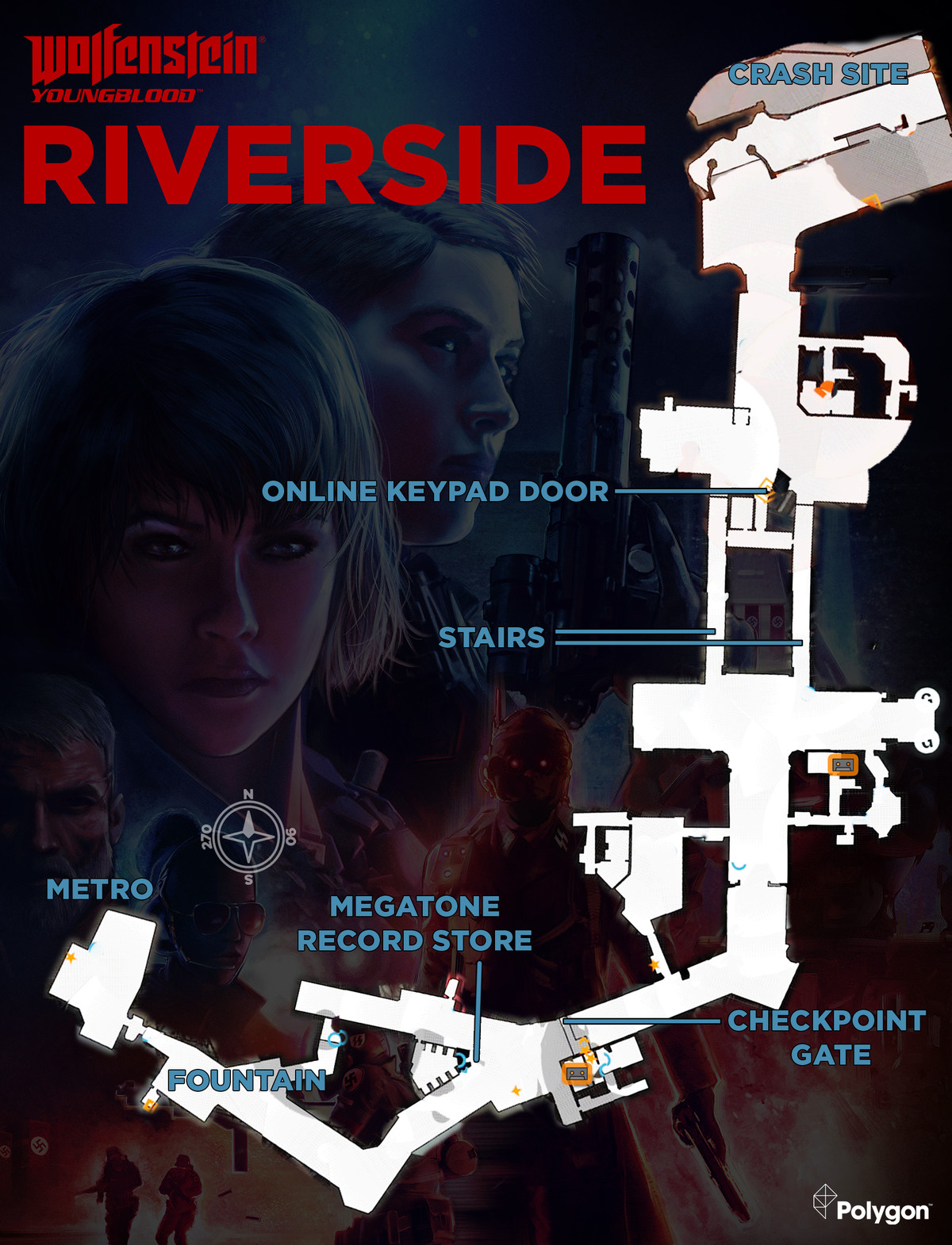 Wolfenstein: Youngblood Riverside map with Cassette Tape locations