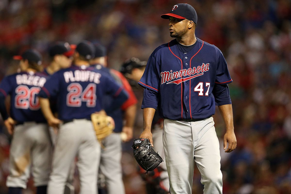 ARLINGTON, TX - JULY 06:  Francisco Liriano #47 of the Minnesota Twins leaves the game against the Texas Rangers at Rangers Ballpark in Arlington on July 6, 2012 in Arlington, Texas.  (Photo by Ronald Martinez/Getty Images)