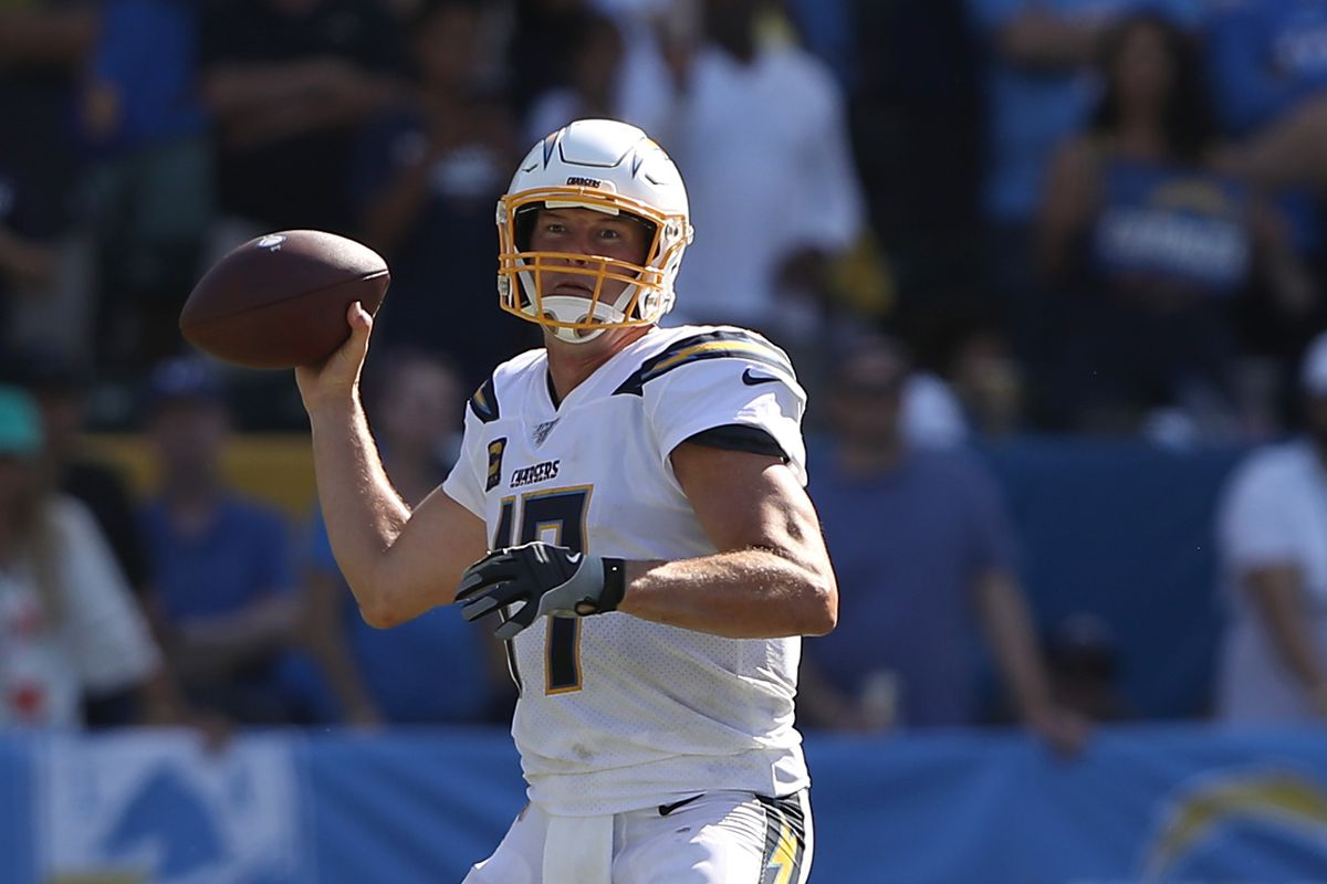Philip Rivers of the Los Angeles Chargers passes the ball during the first half of a game against the Indianapolis Colts at Dignity Health Sports Park on September 08, 2019 in Carson, California.