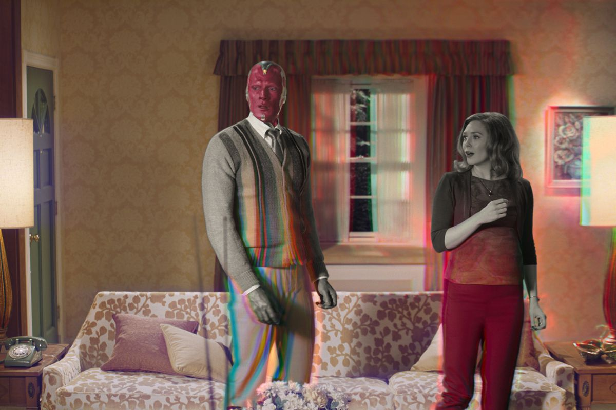 """Paul Bettany is Vision and Elizabeth Olsen is Wanda Maximoff in Marvel Studios' """"WandaVision,"""" exclusively on Disney+. 'WandaVision' returns on Friday, Here's how to watch."""