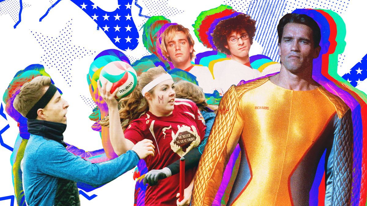 """Technicolor collage of depicting real life quidditch players, Matt Stone and Trey Parker from the movie BASEketball, and Arnold Schwarzenegger in """"The Running Man"""""""