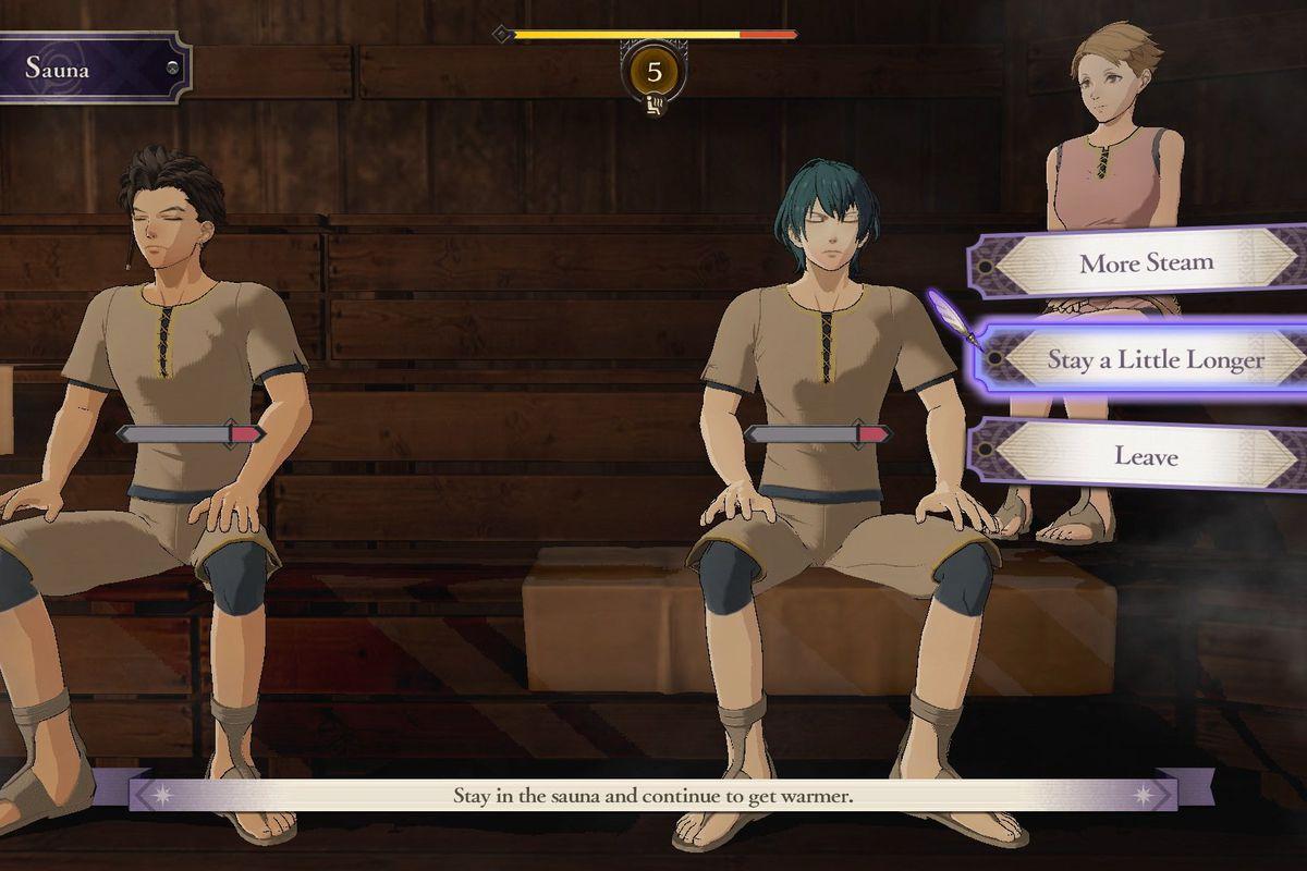 A Fire Emblem protagonist sits in a sauna.