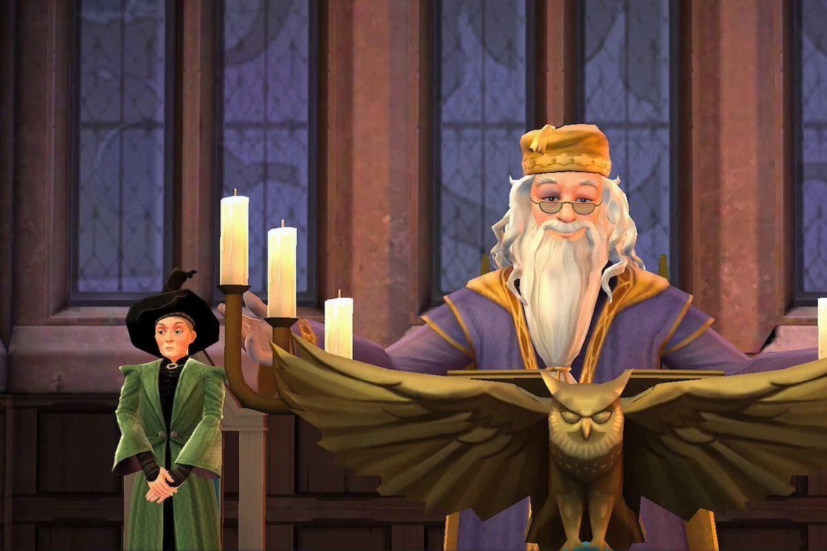 Harry Potter: Hogwarts Mystery - Professor McGonagall, Headmaster Dumbledore and Professor Flitwick in the Great Hall at Hogwarts