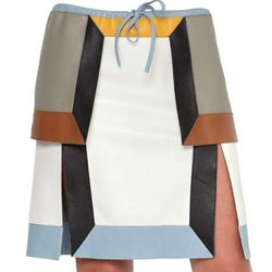 "<b>FENDI</b> Multi Tone Nappa Leather Skirt, <a href=""http://www.luisaviaroma.com/index.aspx?#getData.aspx%7CCallType=Product&prodId=P2H8&des=&cat=&gender=women&group=&vendorColor=&season=actual&seasProdID=57I"">$1,974</a> at Luisaviaroma"