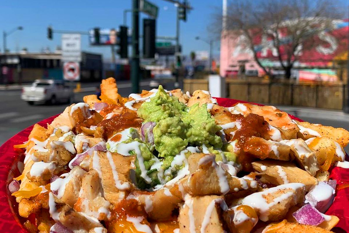 Chicken asada fries, now being served at Berlin in the Arts District.