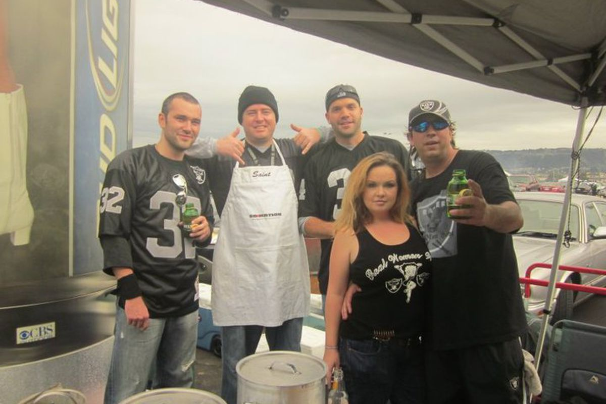 The Grill Iron Gang getting down with Silver and Black Pride at the Home Opener. Much Love to our NYC and NJ families.