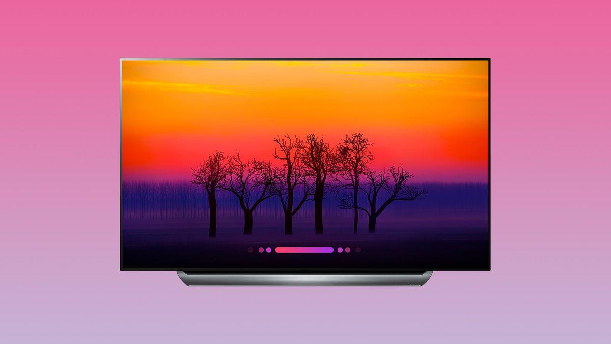 LG C8 OLED on pink background