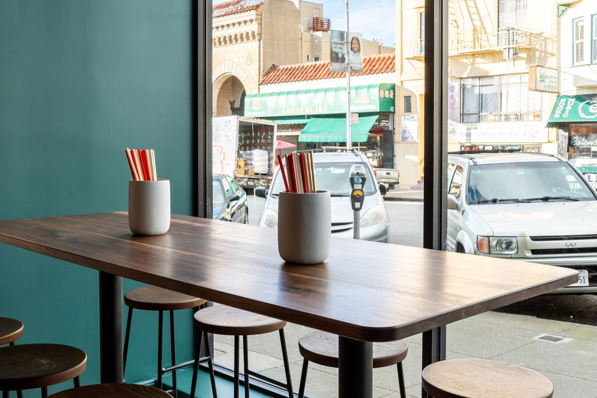 A communal table in front