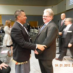 Catching up with Daniel Pray, my former missionary companion.  I?m wearing Tongan missionary attire.