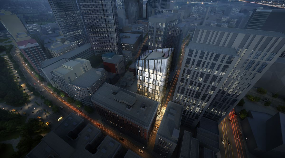 A rendering of a new tower in Boston's Theater District.