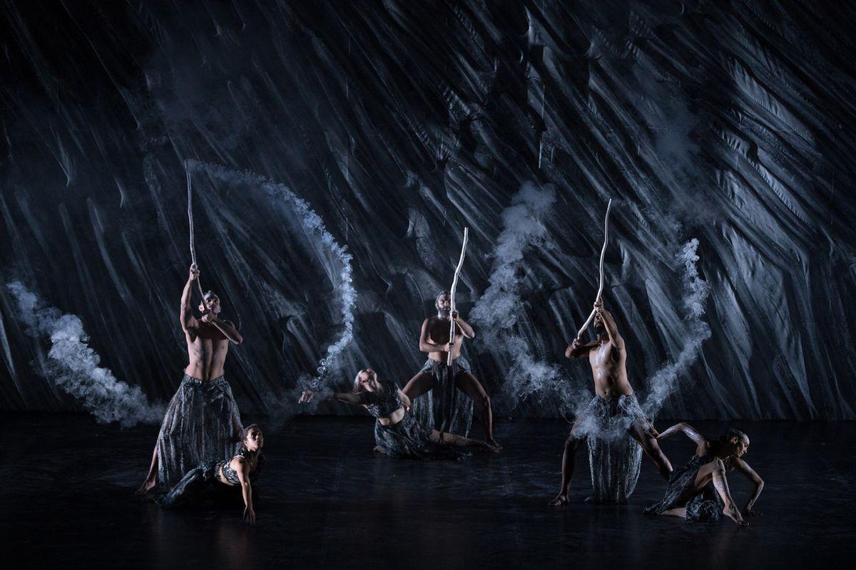 "Australia's Bangarra Dance Ensemble in ""Nyapanyapa,"" choreographed by artistic director Stephen Page."