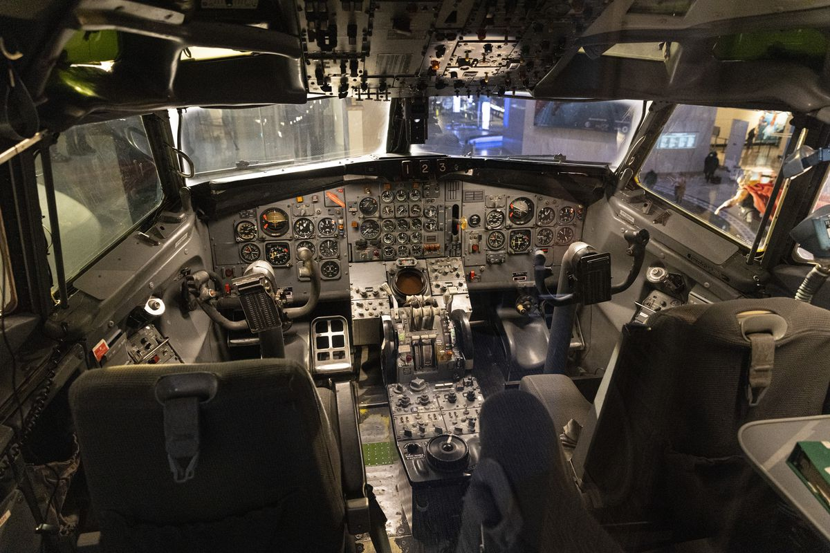 The cockpit of the newly updated Boeing 727 exhibit at the Museum of Science and Industry.