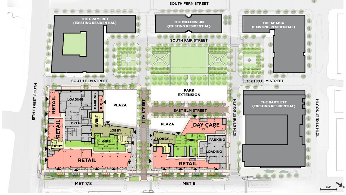 A map of proposed uses for an office project. It shows two office buildings surrounded by green space and existing buildings.