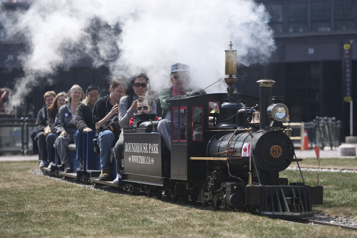 Visitors to the Toronto Railway Historical Association museum enjoy a free ride on a small steam pow