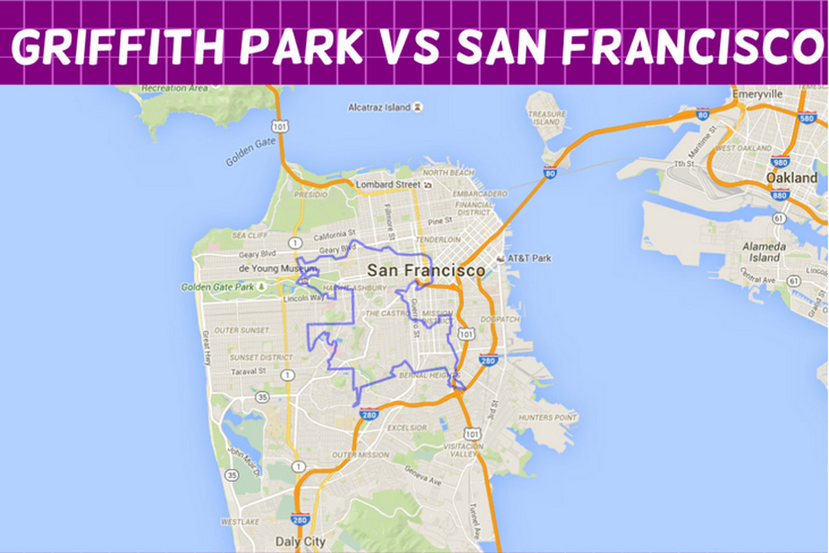 Griffith Park Los Angeles Map.How Many Griffith Parks Fit In Manhattan And 18 Other Super Handy