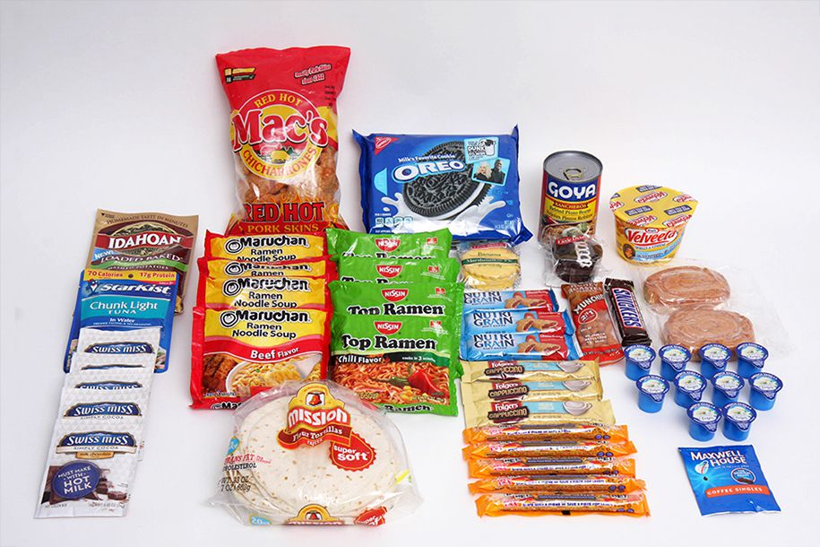 Mega meal pack<br>With about four dozen individual items, this gift pack