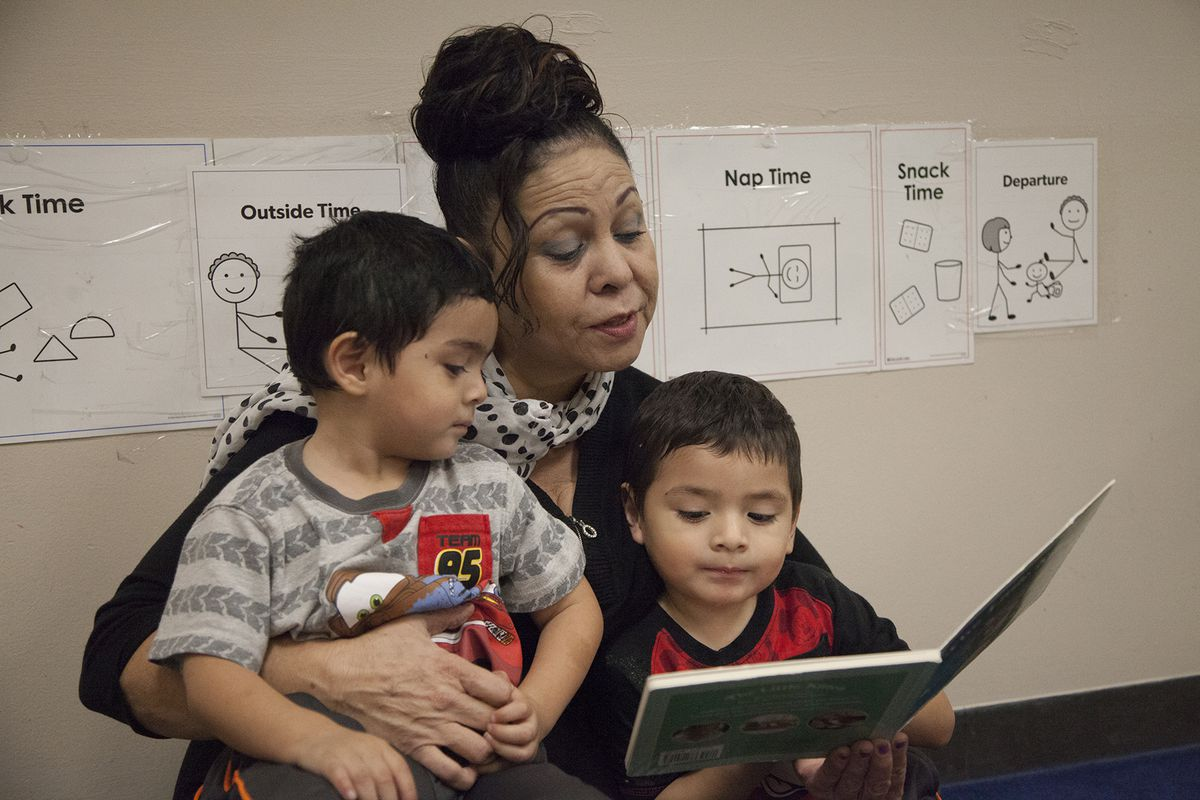 """Evangelina De La Fuente worries about the future of the Head Start her 3-year-old twin grandsons, Randy and Prince, attend. """"The babies are secure and they're happy and they're well fed and they're well cared for. It's scary to think it could change,"""" she said."""