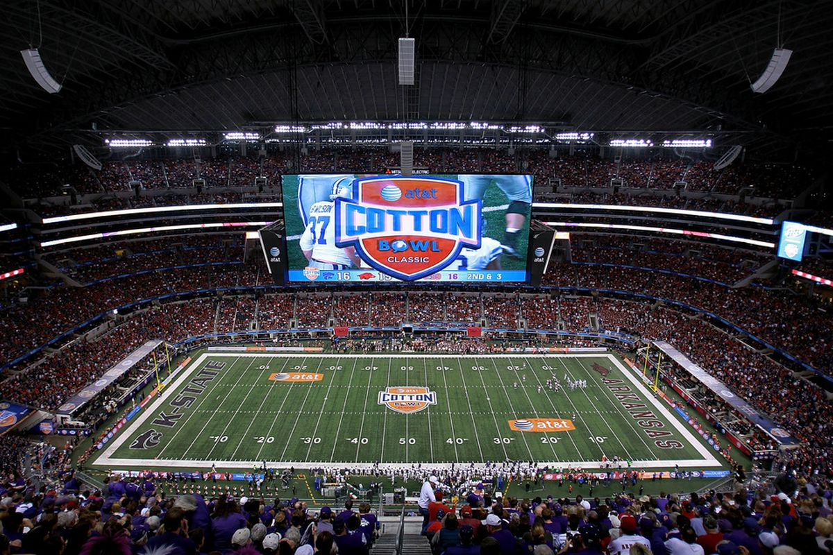 ARLINGTON, TX - JANUARY 06:  A general view of play between the Arkansas Razorbacks and the Kansas State Wildcats during the Cotton Bowl at Cowboys Stadium on January 6, 2012 in Arlington, Texas.  (Photo by Ronald Martinez/Getty Images)
