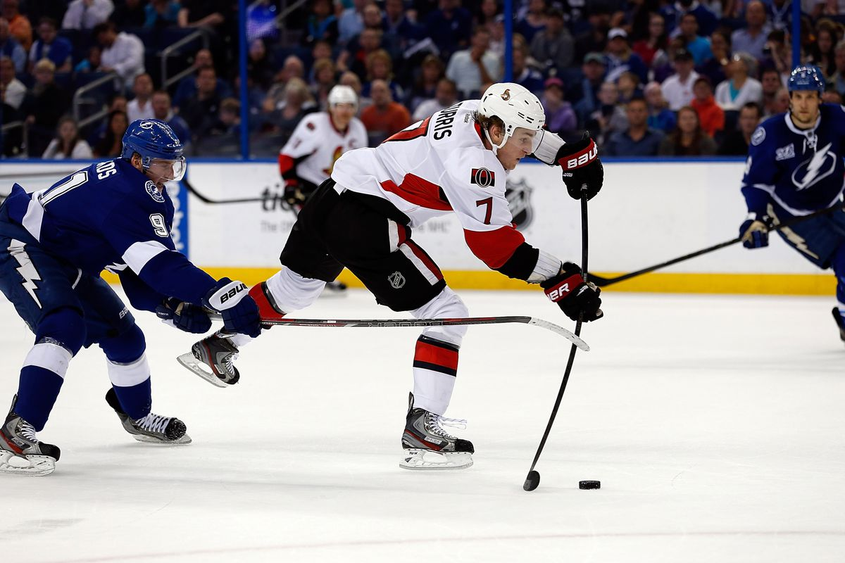 Kyle Turris and Steven Stamkos, captured here creating a bow and arrow out of hockey sticks.