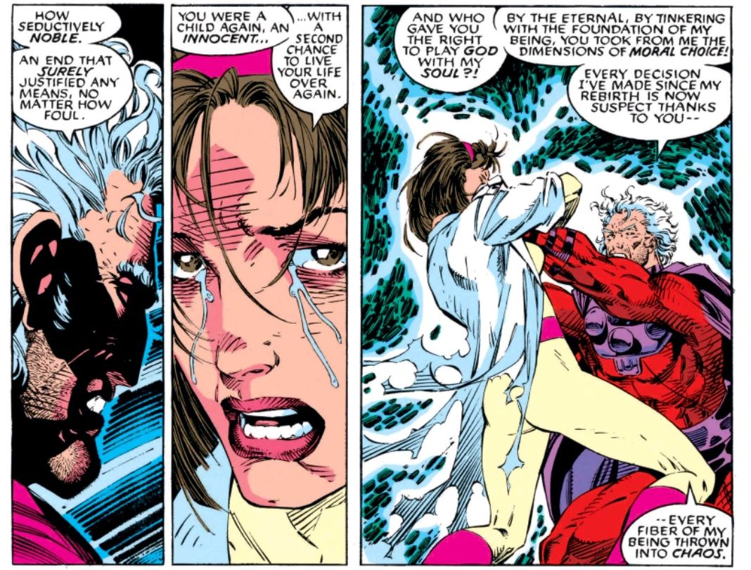 Magneto rages at Moira for altering his DNA when he was de-aged back to a baby (it happened). X-Men #2, Marvel Comics (1991).