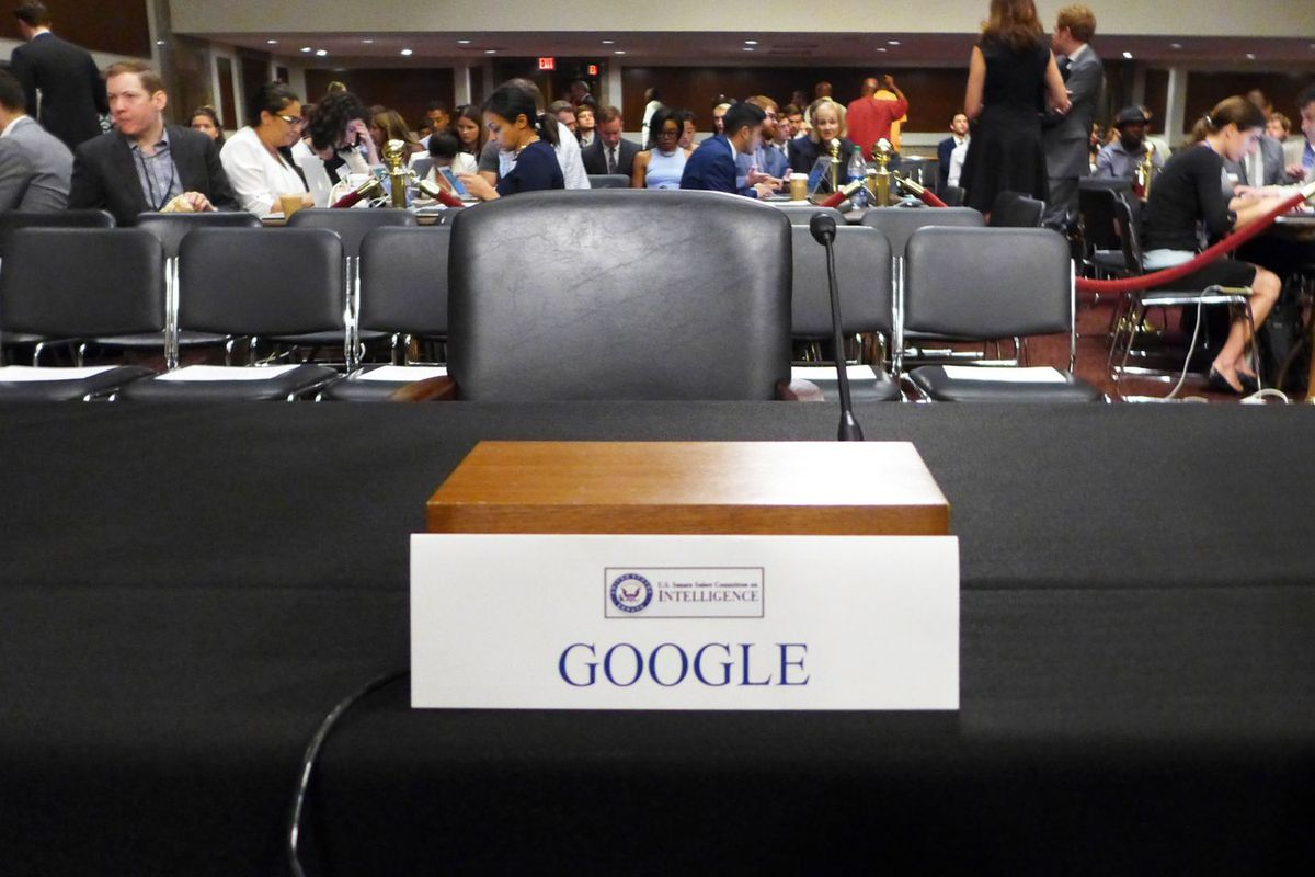 Google's empty chair at the Senate hearing