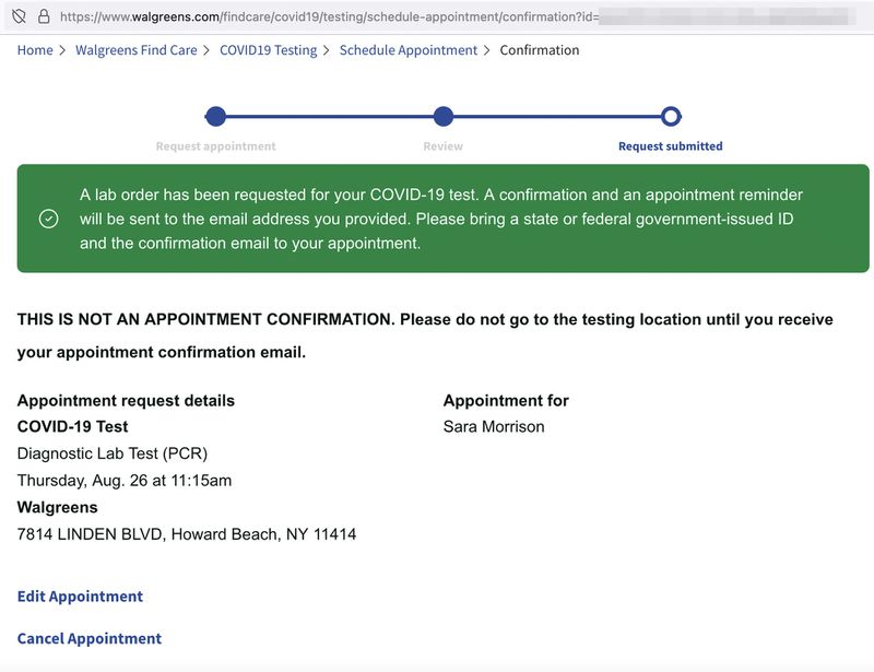 The page created after a patient signs up for a Covid-19 test (patient ID in URL has been blurred).