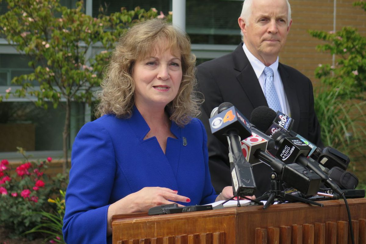 State Superintendent Glenda Ritz announcing her ill-fated bid for governor last June. She pulled out of the race 10 weeks later.