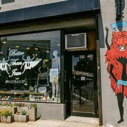 """<b>↑</b> Indie designer co-op <b><a href=""""http://www.betterthanjamnyc.com/"""">Better Than Jam</a></b> (123 Knickerbocker Avenue) is a goldmine of Bushwick style, whether you want to shop it or make it yourself. Shop cool picks from the house label and buzzy"""
