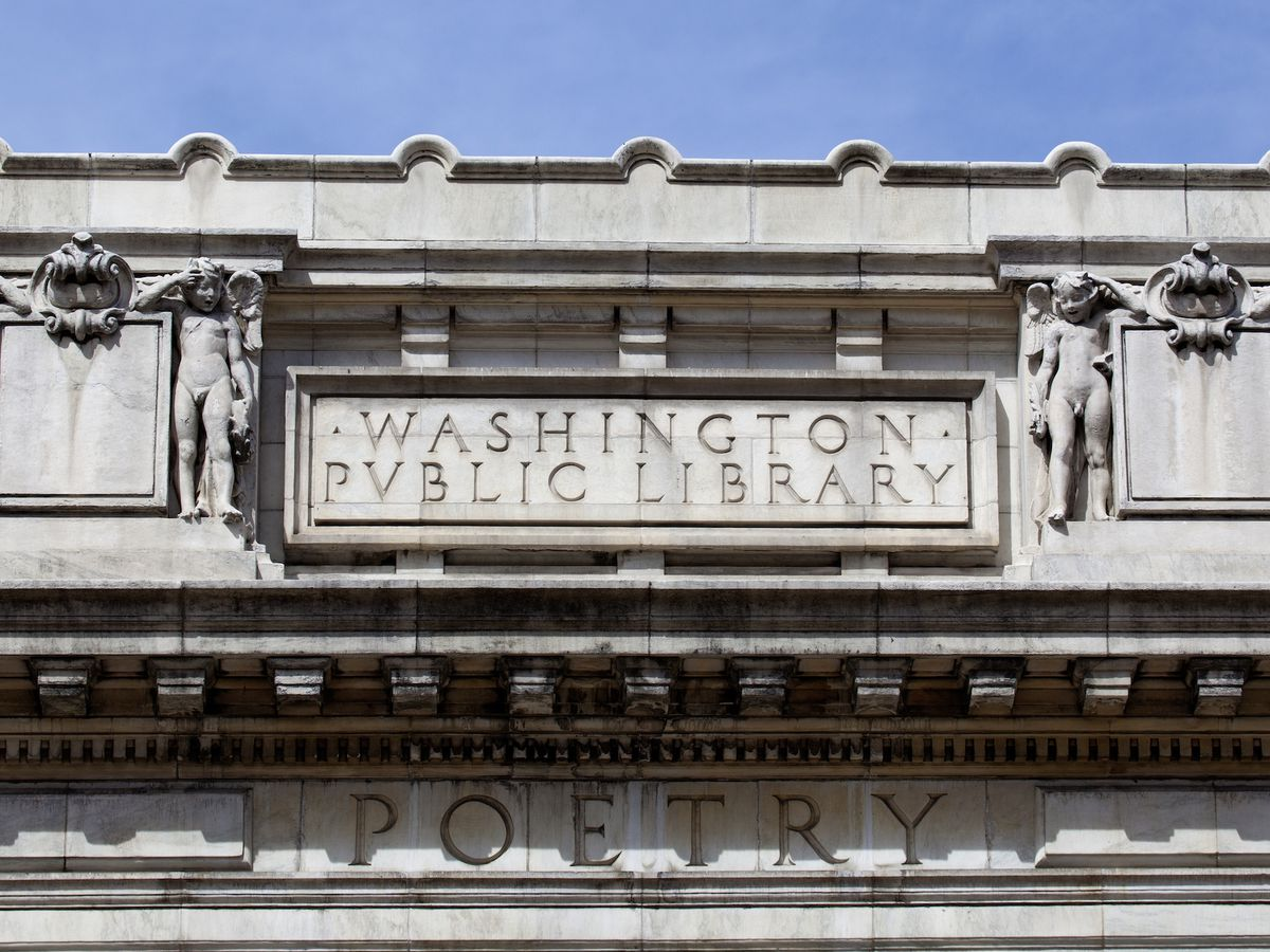 An architectural detail of a neo-classical library.