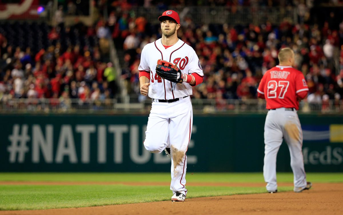3793dd7f00a Los Angeles Angels of Anaheim v Washington Nationals Bryce Harper ...