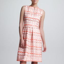 "<b>Lela Rose</b> Split-Neck Check Jacquard Dress in bright coral, <a href=""http://www.bergdorfgoodman.com/p/Lela-Rose-Split-Neck-Check-Jacquard-Dress-Bright-Coral-Dresses/prod83550025_cat80001_cat000009_/?isEditorial=false&index=16&cmCat=cat000000cat00000"