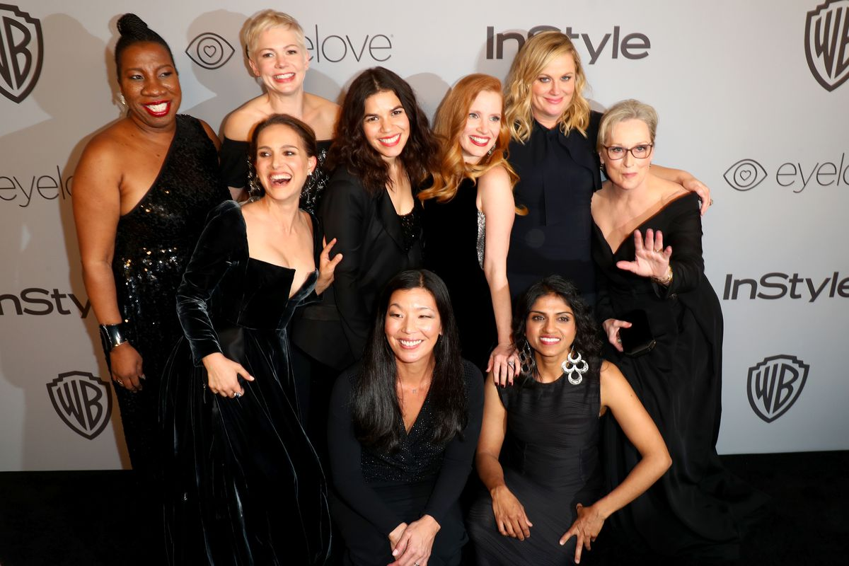 Actresses And Activists Attend The Golden Globes From Top Left Activist Tarana Burke Natalie Portman Michelle Williams America Ferrera