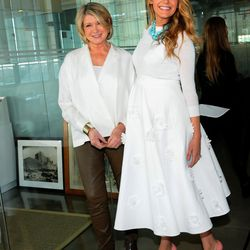 In a Michael Kors sweater and skirt and Christian Louboutin pumps, hanging with Martha Stewart at the American Made Summit on November 8th, 2014.