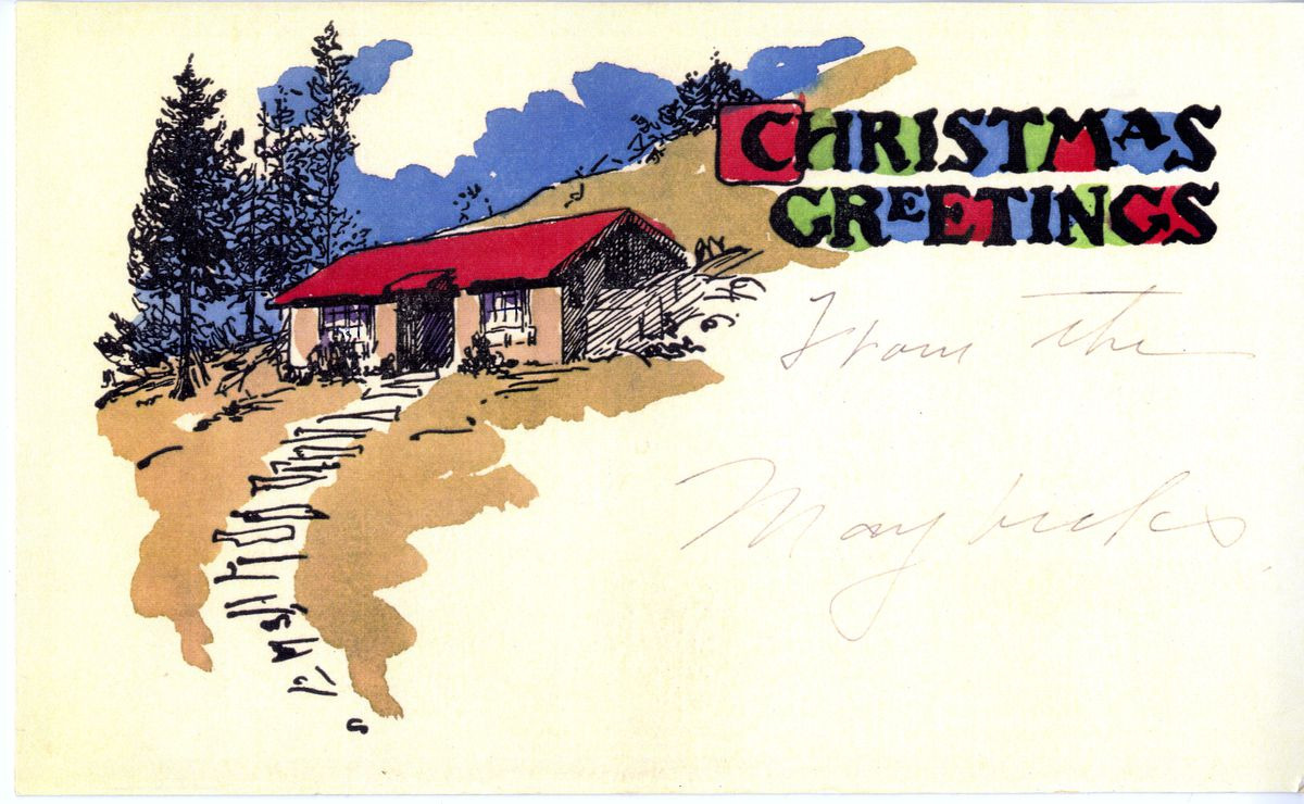 """A postcard drawn by Bernard Maybeck with a handwritten greeting reading: """"Christmas Greetings for the Maybecks."""""""