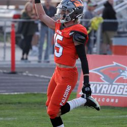 Skyridge's Jace Doman scores a touchdown after intercepting a pass intended for Orem during a high school football game at Skyridge High School in Lehi on Friday, Sept. 3, 2021. Skyridge won 36-0.