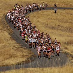 The 5A girls state cross-country championship race is held at Soldier Hollow in Midway on Thursday, Oct. 22, 2020.