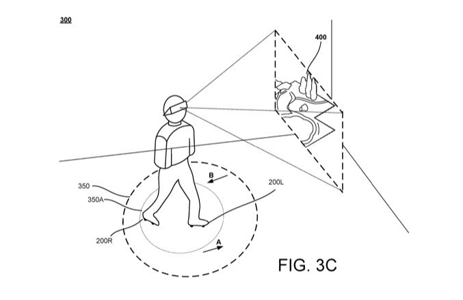 A patent illustration of someone walking in motorized shoes