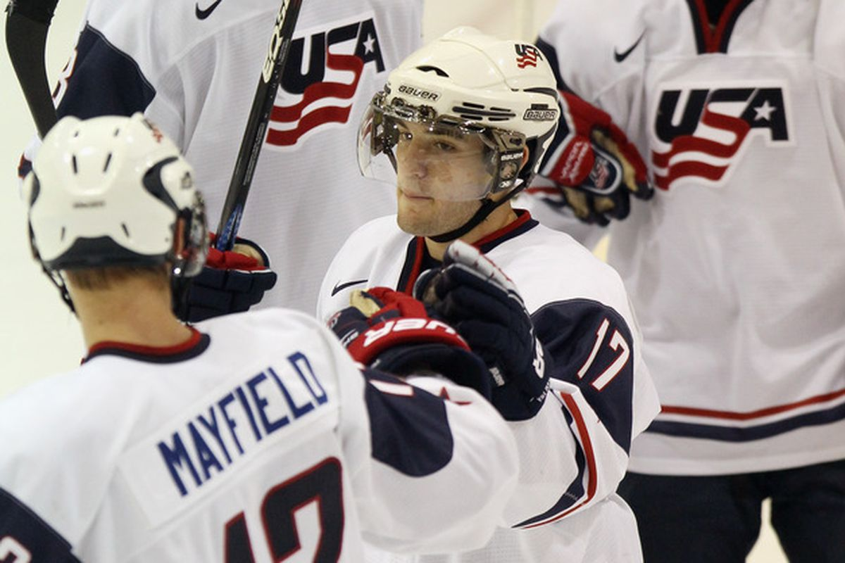 Rocco Grimaldi (17) scored two goals for the US, helping them win gold