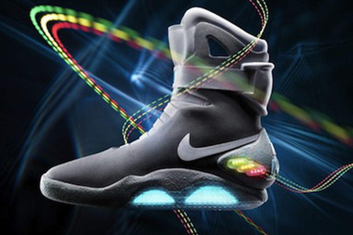 """Still no self-lacing technology. Image via <a href=""""http://latimesblogs.latimes.com/alltherage/2011/09/nike-offers-up-marty-mcflys-back-to-the-future-shoes.html"""">All the Rage</a>."""