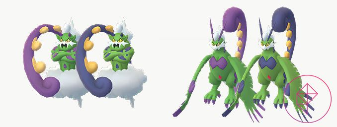 Shiny Tornadus with its regular form. Shiny Tornadus has blue spots and tails instead of purple.