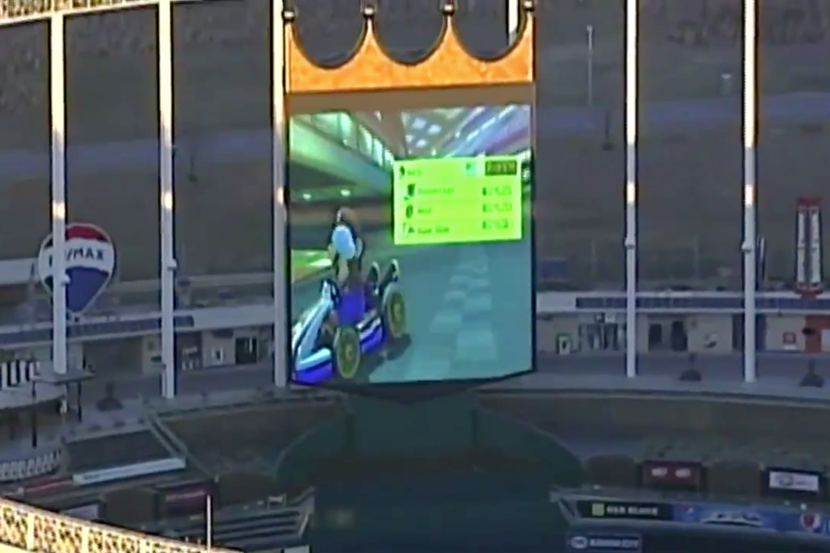 A game of Mario Kart breaks out at the Royals' stadium in early 2019.