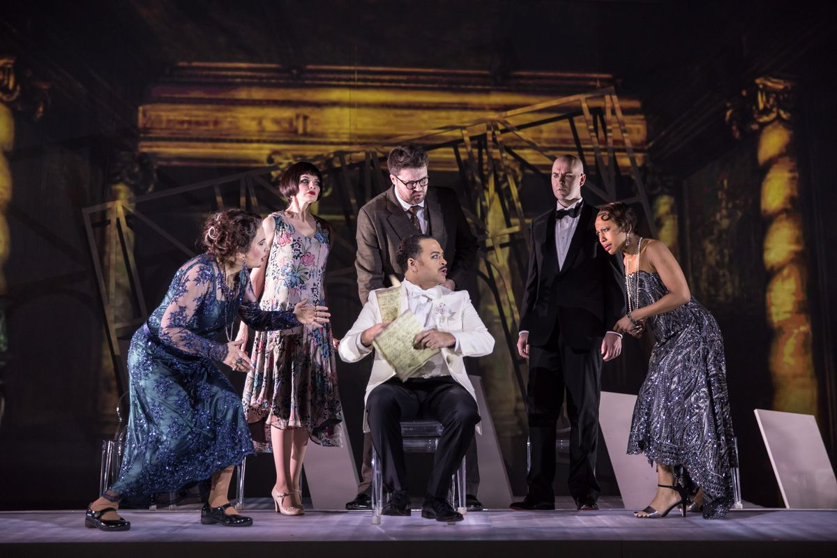 """Barbara Landis (from left), Valerie Vinzant, David Govertsen, Nathan Granner (seated), Scott Brunscheen and Kimberly E. Jones in Chicago Opera Theater's production of """"The Invention of Morel."""" (Photo: Liz Lauren)"""